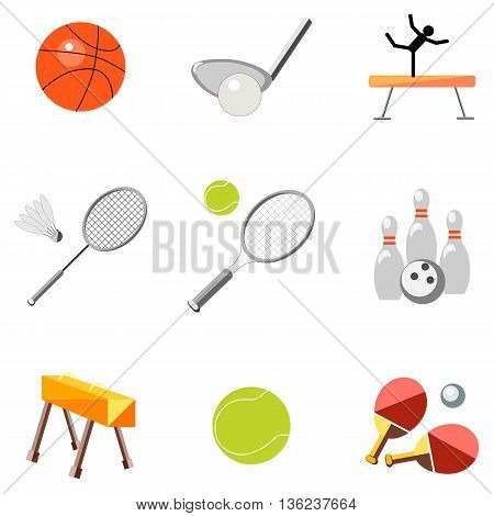 Set icons sports equipment on a white background in the style of flat