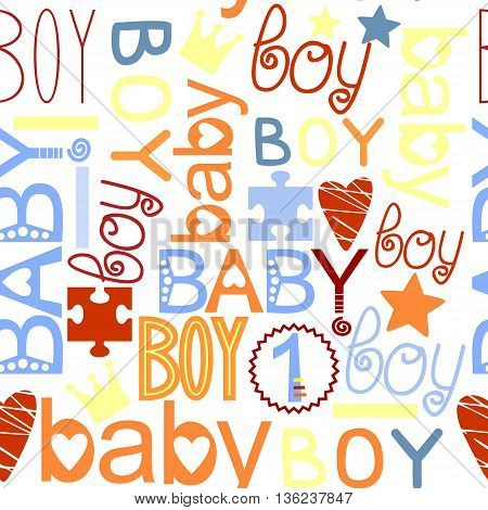 seamless colorful kids pattern with label Baby Boy