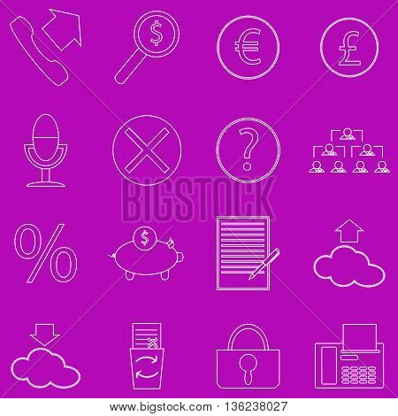 A set of contour business icons on purple background. Fine lines