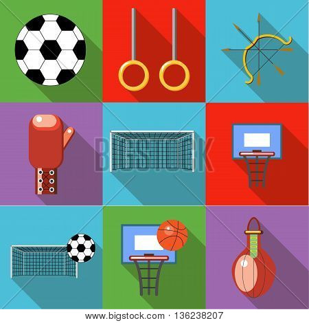 Set of sport icons with long shadow style flat