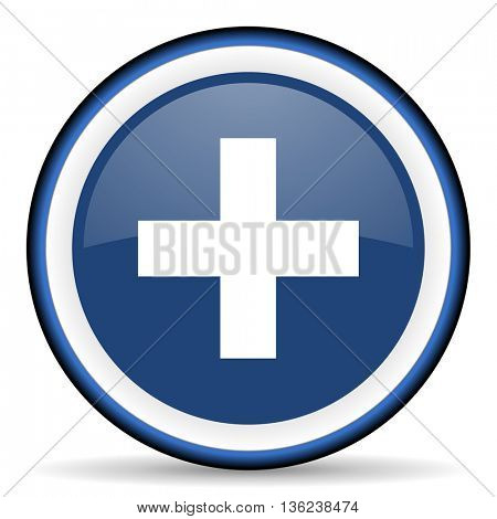 plus round glossy icon, modern design web element