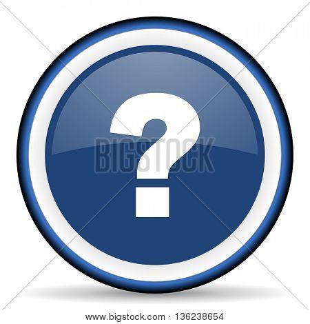 question mark round glossy icon, modern design web element