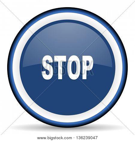 stop round glossy icon, modern design web element