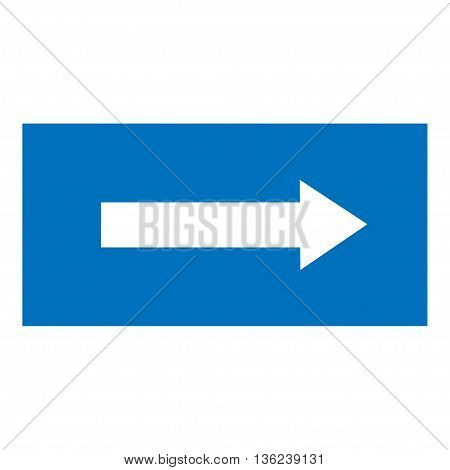 Arrow sign white icon in blue rectangle. Isolated on white background .Vector to right symbol marks. Arrow sign picture. Blue sticker vector illustration. Flat vector image. Vector illustration.