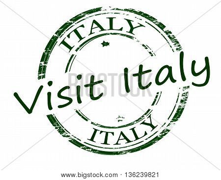 Rubber stamp with text visit Italy inside vector illustration