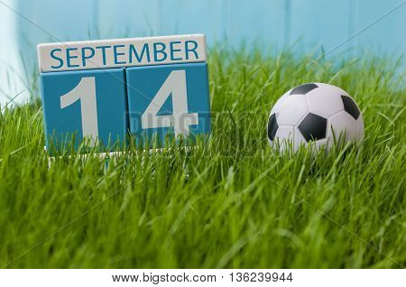 September 14th. Image of september 14 wooden color calendar on green grass lawn background. Autumn day. Empty space for text.