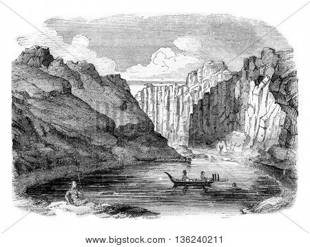 Marquesas Islands, View of the Bay of Tahiti, vintage engraved illustration. Magasin Pittoresque 1843.