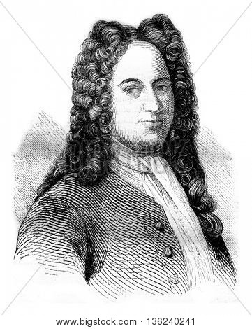Portrait of Leibowitz after burning Grutzmacher, and facsimile of his signature, vintage engraved illustration. Magasin Pittoresque 1843.