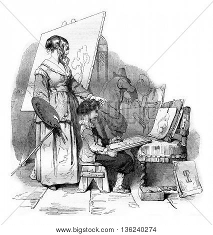 Van Dyck receiving his mother's drawing lesson, vintage engraved illustration. Magasin Pittoresque 1843.