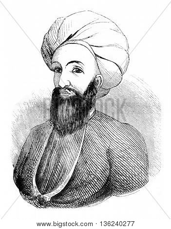 Dost Mohammad Khan, former emir of Afghans, vintage engraved illustration. Magasin Pittoresque 1843.