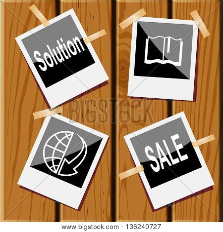 4 images: sale, book, globe and array down, solution. Business set. Photo frames on wooden desk. Vector icons.