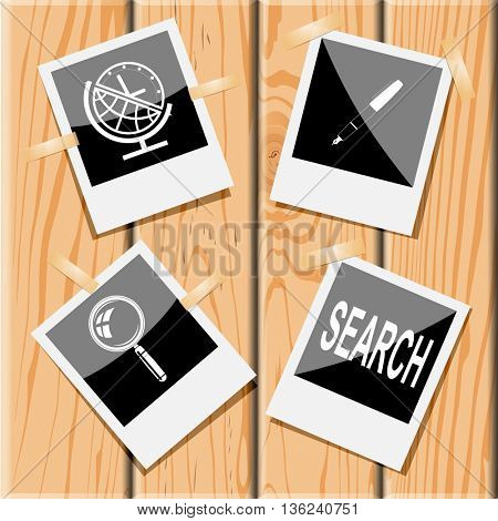 4 images: globe and clock, ink pen, search, magnifying glass. Education set. Photo frames on wooden desk. Vector icons.