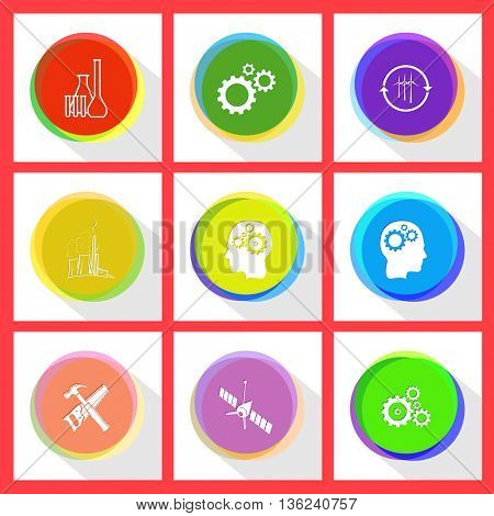 9 images: chemical test tubes, gears, wind turbine, thermal power engineering, human brain, hand saw and hammer, spaceship. Tehnology set. Internet template. Vector icons.