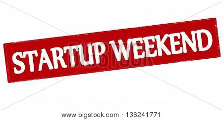 Rubber stamp with text startup weekend inside vector illustration