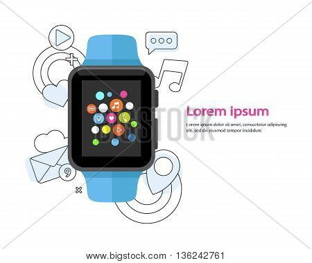 Smart watch device display with app line icons. Smart watch technology . Flat design vector illustration