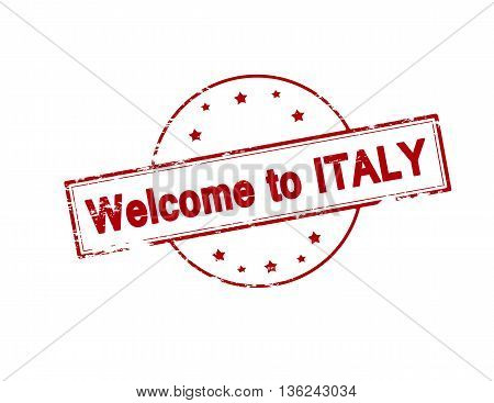 Rubber stamp with text welcome to Italy inside vector illustration