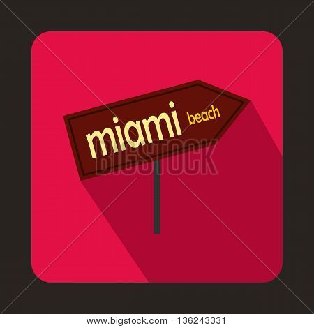 Miami arrow post sign icon in flat style on a pink background