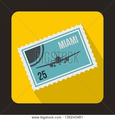 Stamp with plane and text Miami inside icon in flat style on a yellow background