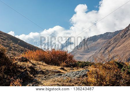 Mountain trail through a valley, majestic mountain in the background. Annapurna region in Nepal.