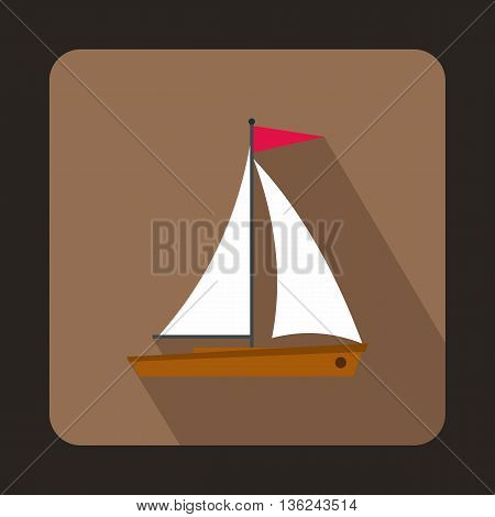 Yacht icon in flat style on a brown background