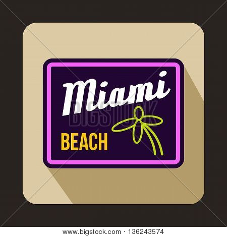 Miami beach icon in flat style on a beige background