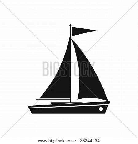 Yacht icon in simple style isolated on white background
