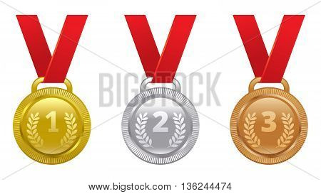 Vector set of sports awards gold silver and bronze medals