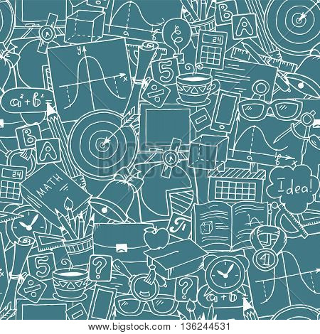 Mathematics science theme. Seamless hand drawn pattern about school and learning. Teachers day background