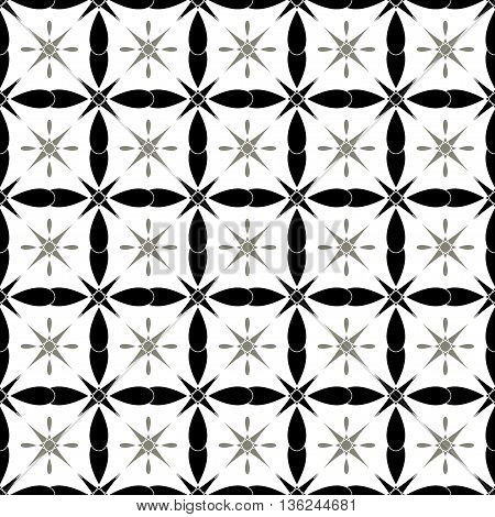 Flower and square seamless pattern. Fashion graphic background design. Modern stylish abstract texture. Monochrome template for prints textiles wrapping wallpaper website etc. VECTOR illustration