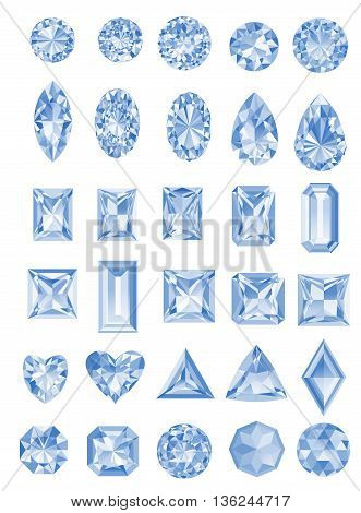 Set of realistic jewels isolated on white background with different cuts. Princess cut jewel. Round cut jewel. Emerald cut jewel. Oval cut jewel. Pear cut jewel . Heart cut jewel.