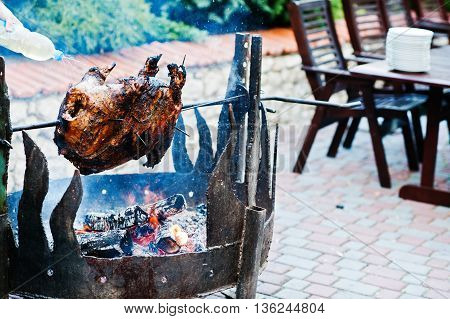 Roasting Barbecue Is Prepared Of A Ram, Lamb Or Sheep
