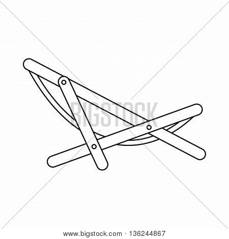 Beach chaise icon in outline style isolated on white background