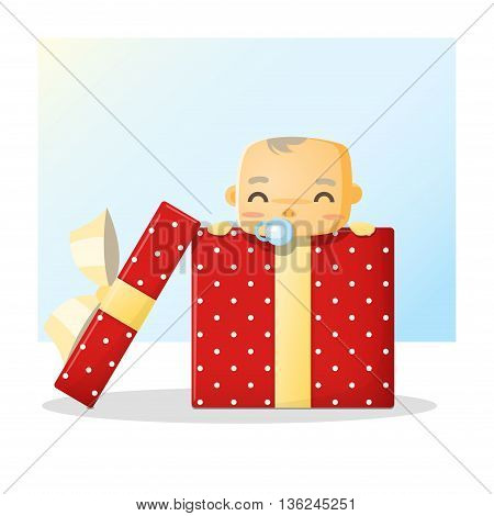 Cute baby inside gift box background , vector , illustration