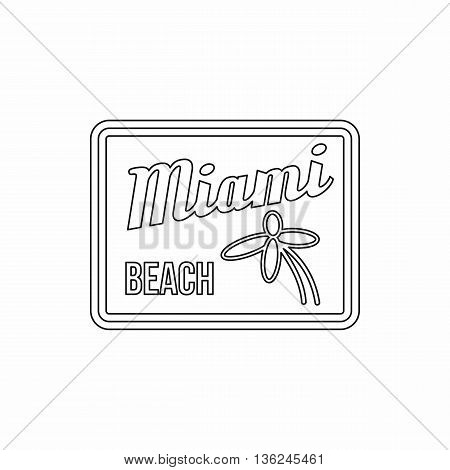 Miami beach icon in outline style isolated on white background