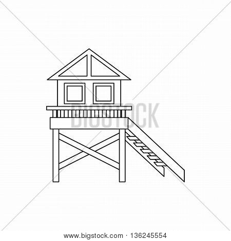 Wooden stilt house icon in outline style isolated on white background