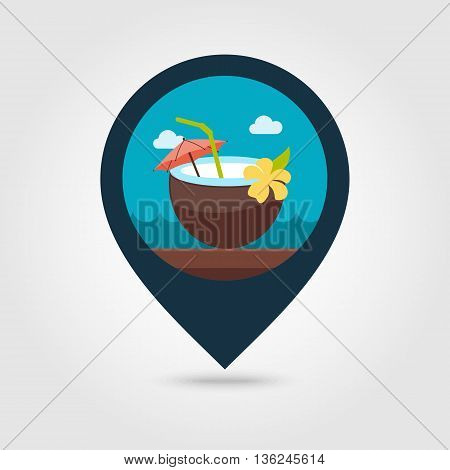 Coconut Drink with Straw vector pin map icon. Beach Map pointer. Summer Map markers. Summertime. Vacation eps 10