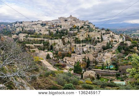View Of The Hilltop Village Gordes, Provence, France