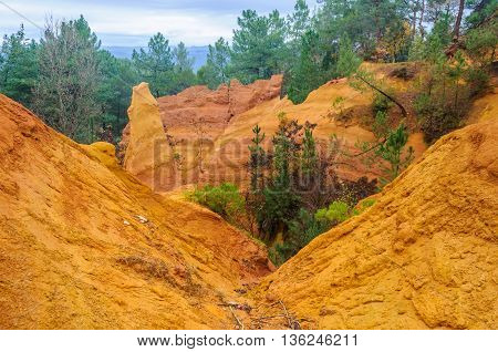Colorful Rock Formations In Roussillon, Provence, France
