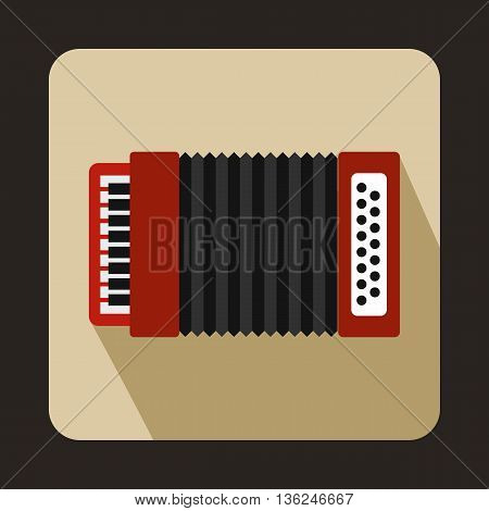 Red accordion icon in flat style on a beige background