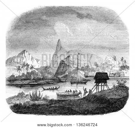 Matavai Bay, vintage engraved illustration. Magasin Pittoresque 1843.