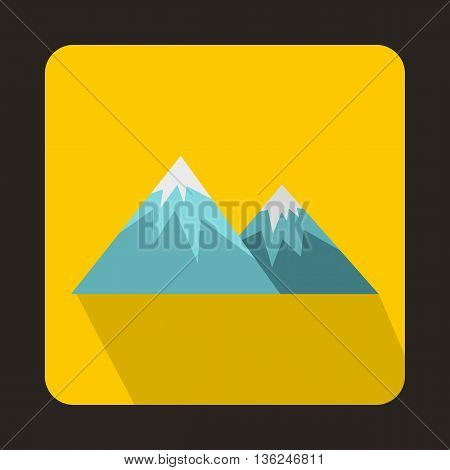 Swiss alps icon in flat style on a yellow background