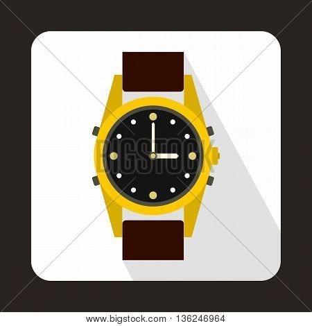 Swiss watch icon in flat style on a white background