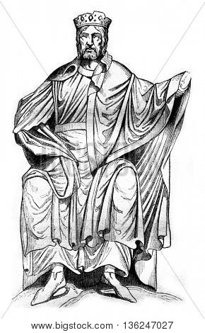 Statue of Dagobert I, Church of St. Denis, vintage engraved illustration. Magasin Pittoresque 1843.