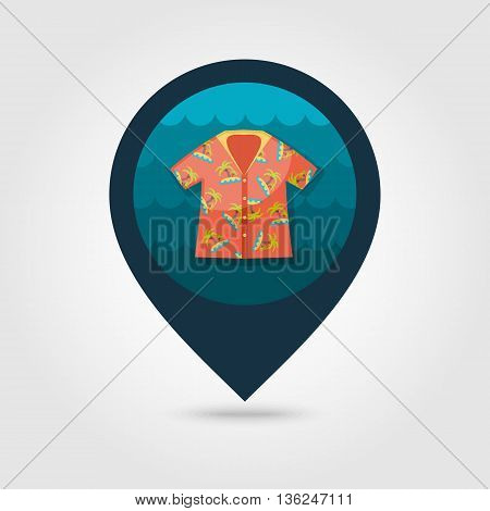 Hawaiian Shirt with palm tree vector pin map icon. Beach Map pointer. Summer Map markers. Summertime. Vacation eps 10