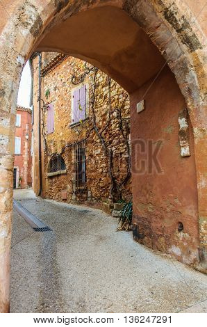 Medieval Arcade In Roussillon, Provence, France
