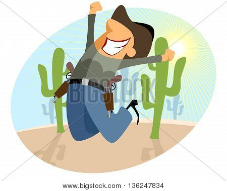 Vector illustration of a funny cowboy jumping