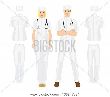 Vector illustration of medical uniform. A young doctor in uniform and hat isolated on white background.