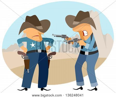 Vector illustration of a funny cowboys at wild west
