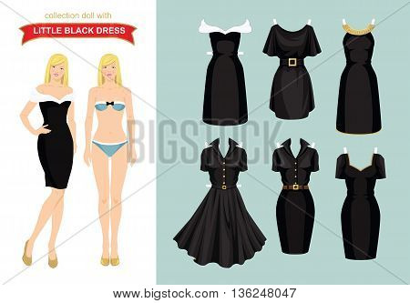 Doll with clothes. Body template. Set of template paper little black dress. Woman in elegant dress with a white drape.