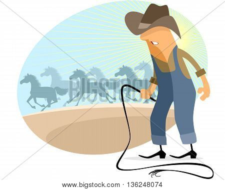 Vector illustration of a cowboy with herd